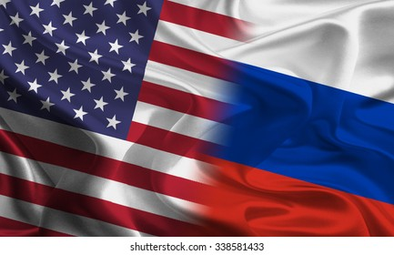 American and Russian flags joining together concept