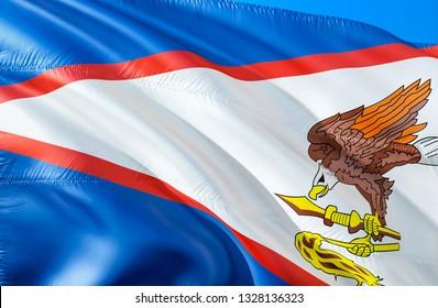 American Samoa flag. 3D Waving USA state flag design. The national US symbol of American Samoa state, 3D rendering. National colors and National flag of American Samoa for a background. American state