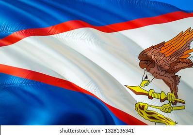 American Samoa flag state. 3D Waving flag design. US state flags of American Samoa and Pago Pago, 3D rendering. The national emblem of American Samoa background wallpaper. 3D ribbon, background