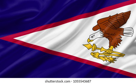 American Samoa flag waving with the wind, 3D illustration.