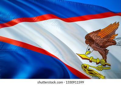 American Samoa state flag. 3D Waving United States flag design. Symbol of American Samoa and Pago Pago, 3D rendering. Samoa Waving state flag concept.Waving US American state flags