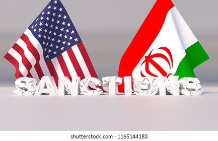 American sanctions against Iran. 3D illustration.