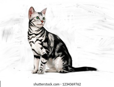AMERICAN SHORT HAIR CAT OIL COLOR PAINTING