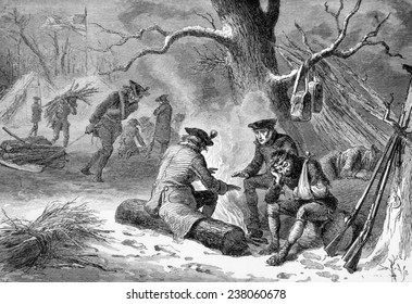 American soldiers at Valley Forge, Pennsylviania, 1777
