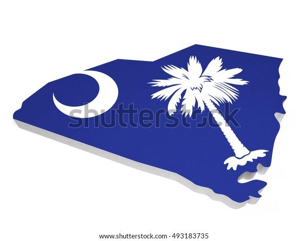 American South Carolina 3D map and flag