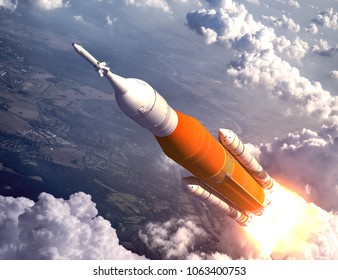 American Space Launch System Flying Over The Clouds. 3D Illustration.