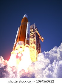 American Space Launch System Takes Off. 3D Illustration.