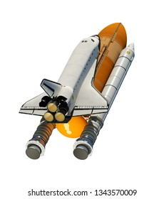 American Space Shuttle Isolated On White Background. 3D Illustration.