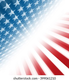 American stars and stripes coming from a perspective on a diagonal
