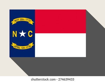 American State of North Carolina flag in flat web design style.