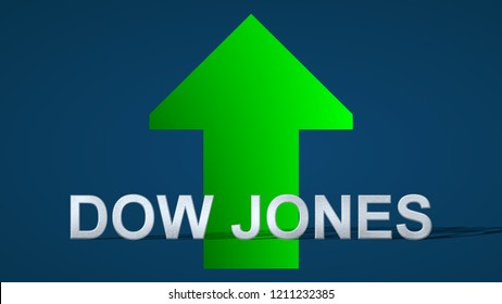 The American stock market index Dow Jones is going up. A green arrow showing upwards on a blue background indicates the price rise.