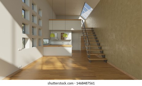 American Style Kitchen Inside an Empty House with a Mezzanine in Natural Daylight 3D Rendering