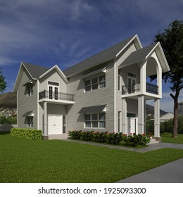 American Style Suburban House Exterior 1 3D Rendering 3D Illustration 3D Model