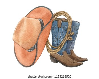 American style. Western. Cowboy boots, hat, lasso. Watercolor illustration