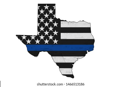 American thin blue line flag on map of Texas for your support of police officers isolated over white 3D Illustration