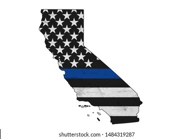 American thin blue line flag on map of California for your support of police officers isolated over white 3D Illustration