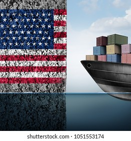 American trade barrier and tariff war in the United states as a cargo ship facing a wall as an economic taxation problem over import and exports concept as a 3D illustration.