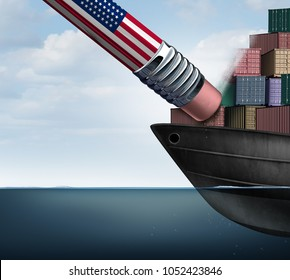 American trade deficit reduction and economic sanctions or trade war as an American ppencil erasing imports as a protectionism business symbol as a 3D illustration.
