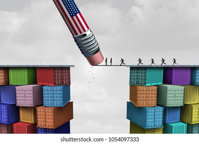 American trade sanctions and economic obstruction or trade war as an American pencil erasing a business link to imports as a protectionism symbol as a 3D illustration.