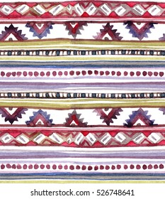 American tribal design. Seamless background with tribal pattern. Hand painted watercolor