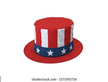 American Uncle Sam stovepipe top hat 3d Rendering