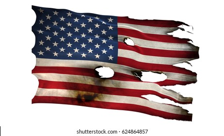 American United states USA US flag bullet perforated burned grunge tattered waving isolated on white background 3d illustration