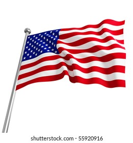 american usa 3d flag on white background