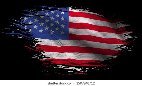 American USA America tattered roughed Flag old vintage flag waving particles flag 8K illustration on black screen background
