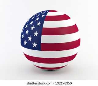 American (USA) flag on 3D sphere
