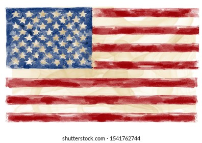 American USA flag watercolor painting.