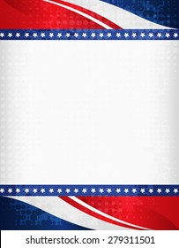 American / USA grunge halftone dotted patriotic frame with ribbon banner  on top and bottom as header and footer. A traditional vintage american poster design