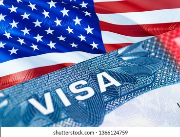 American visa in the passport, 3D rendering. Closeup visa to The United States of America (USA) focusing on the word visa . Travel USA visa in passport close-up. American multi entrance in passport