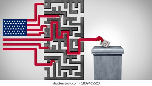 American Voting challenge and United States election problem or voter US suppression and campaign to disenfranchise a democratic right in a democracy with 3D render elements.