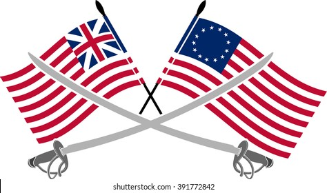 american war of independence - second variant. two saber and flags. raster version