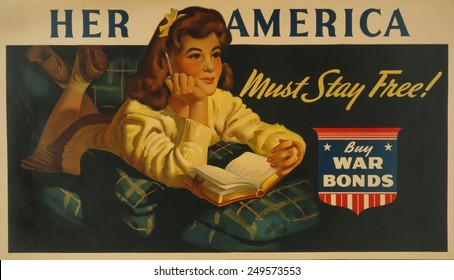 American WW2 poster. 'Her America must stay free! Buy war bonds,' reads a poster showing a daydreaming teenage girl about to write in her diary. Ca. 1943.