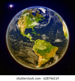 Americas from space. 3D illustration with detailed planet surface. Elements of this image furnished by NASA.