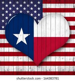 america,Texas  flag,heart-shaped,  wood background