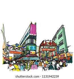Ameyoko market neighborhood Tokyo Japan , Sketchbook Illustration design.
