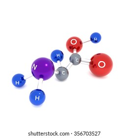 Amino acid molecules on a white background. Used to increase strength and faster recovery and muscle tissue in the body. With the name of each.