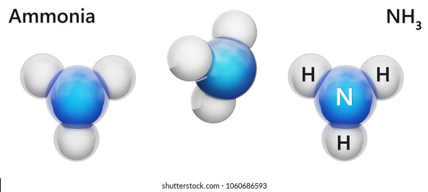 Ammonia (molecular formula: NH3 or H3N) is a colorless alkaline gas. It is formed in the body during decomposition of organic materials. Isolated on white background. 3D illustration.