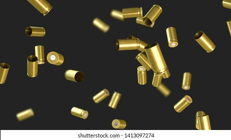 Ammunition cartridge case from a pistol flying through the air - 3d illustration
