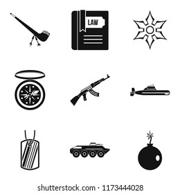 Ammunition icons set. Simple set of 9 ammunition icons for web isolated on white background