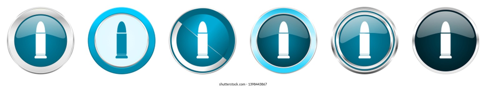 Ammunition silver metallic chrome border icons in 6 options, set of web blue round buttons isolated on white background