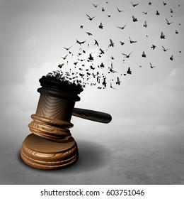 Amnesty concept and law decline or symbol for a legal pardon as a judge gavel or mallet being transformed into free flying birds as a justice metaphor for clemency or injustice as a 3D illustration.