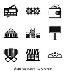 Amount of money icons set. Simple set of 9 amount of money icons for web isolated on white background