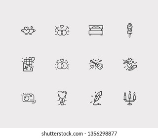 Amour icons set. Gender sign and amour icons with king size bed, girlfriend, candelabrum. Set of person for web app logo UI design.