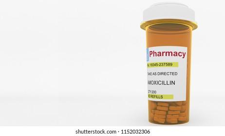 AMOXICILLIN generic drug pills in a prescription bottle. Conceptual 3D rendering