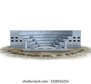amphitheater, medieval building, 3d visualization, illustration