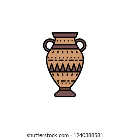 Amphora icon. Element of color ancient greece  icon for mobile concept and web apps. Colored Amphora icon can be used for web and mobile