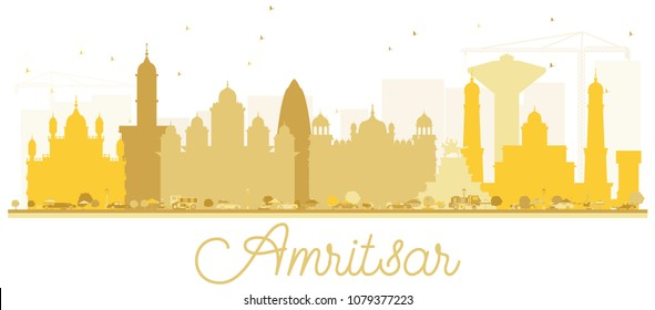 Amritsar City skyline golden silhouette. Simple flat concept for tourism presentation, banner, placard or web site. Amritsar Cityscape with landmarks.